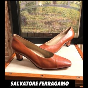 "SALE🌷SZ 7-FERRAGAMO BROWN ITALIAN LEATHER 3""PUMPS"